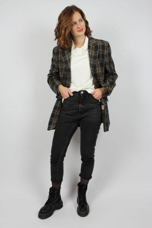 Jacke schwarz mit Karomuster
