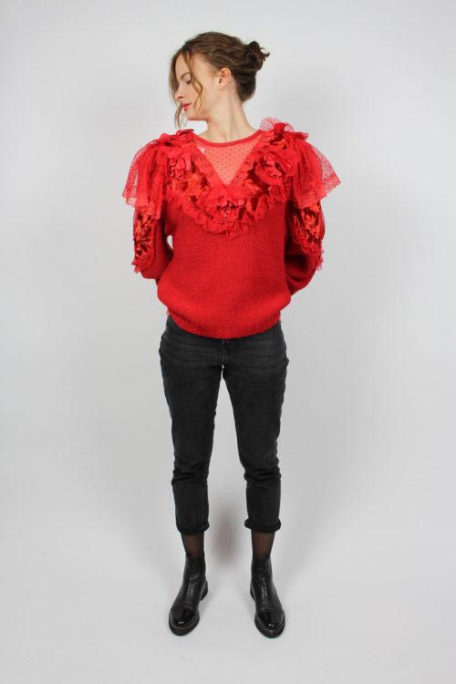 Pullover rot mit Spitzenbordüre