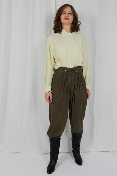 Vintage Bundfaltenhose Khaki