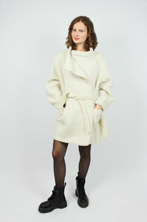 Vintage Damen Mantel Weiß