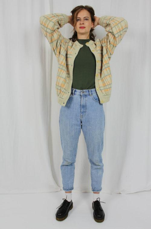 Vintage Damen Strickjacke Beige