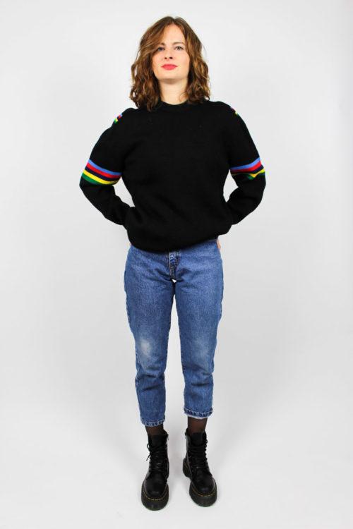Vintage Pullover Damen Schwarz