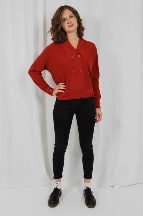 Vintage Pullover Rot Gerippt