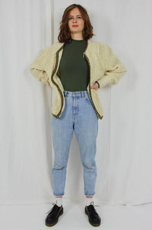 Vintage Strickjacke Creme Damen