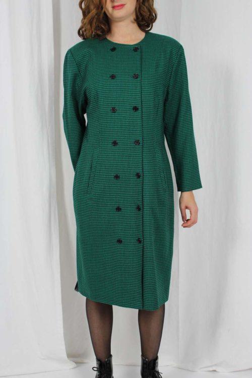grünes Kleid Hahnentrittmuster
