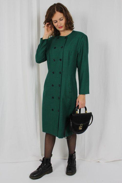 grünes Kleid kariert Second Hand