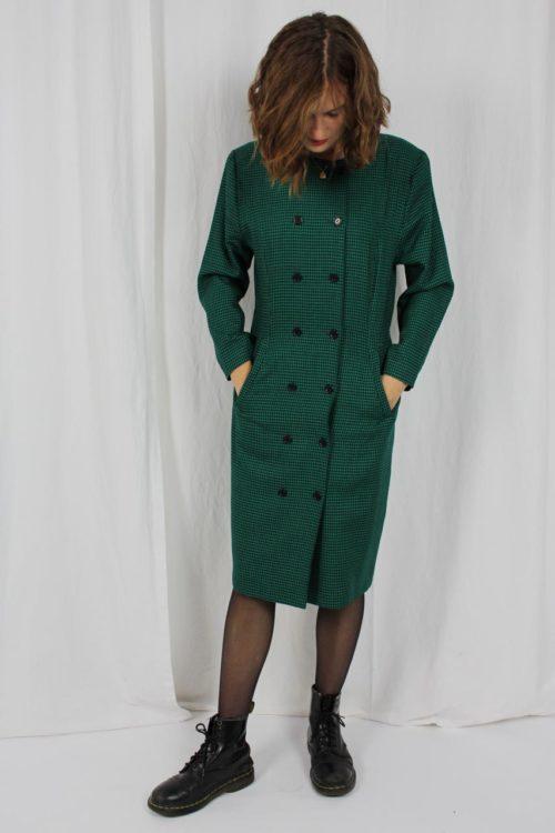 schwarz grünes Kleid Knopfleiste