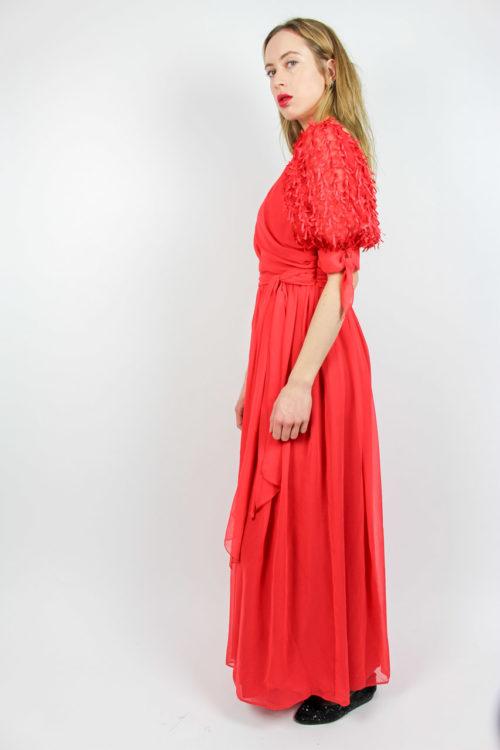 Abendkleid rot V-Ausschnitt