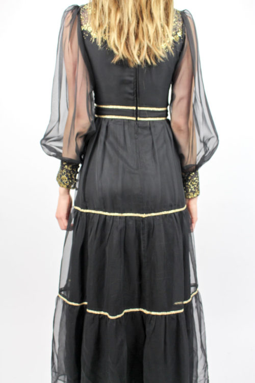 Abendkleid schwarz gold