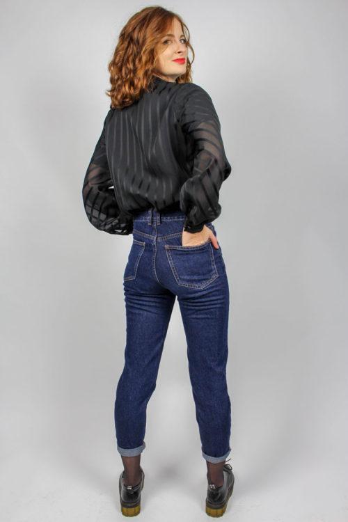 Bluse schwarz Puffärmel