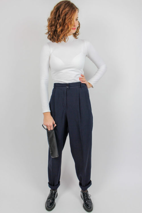 Bundfaltenhose blau Secondhand
