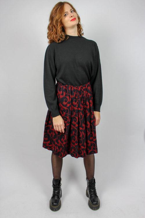 Faltenrock schwarz rot