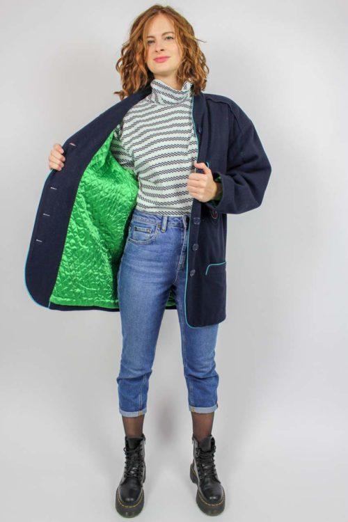 Jacke blau grünes Steppfutter