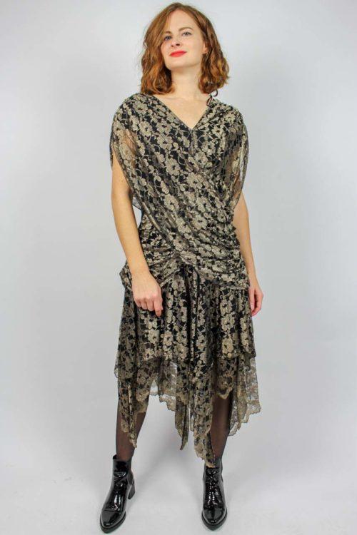 Kleid midi gold schwarz
