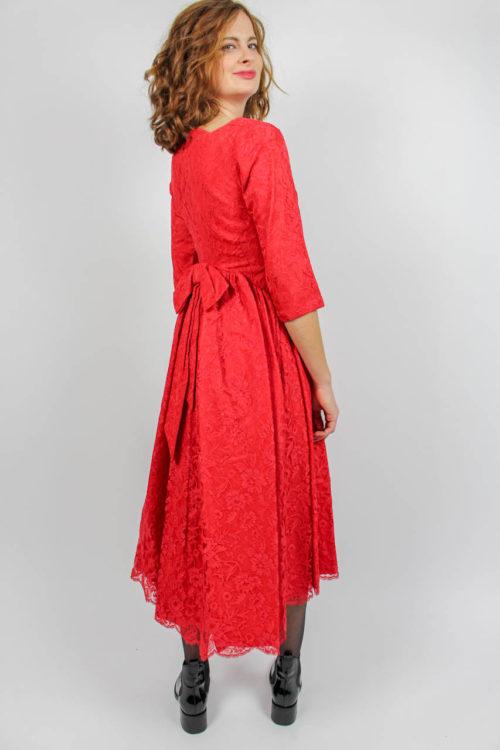 Kleid rot Spitze Secondhand