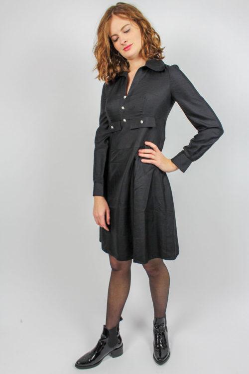 Kleid schwarz Langarm