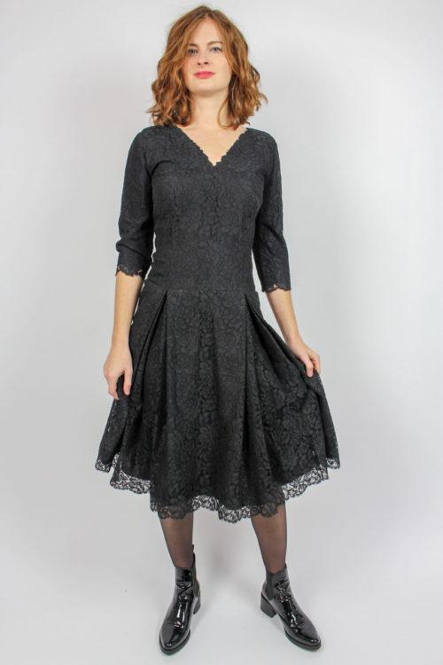 Kleid schwarz Spitze Secondhand