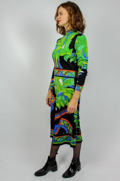 Kleid schwarz grün Secondhand