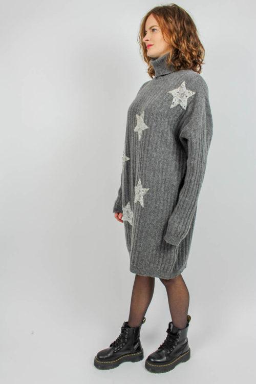 Pullover grau Sternenmuster