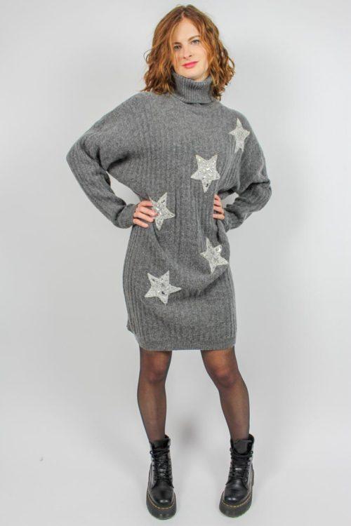 Pullover grau lang weiße Sterne