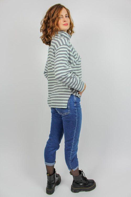 Pullover weiß blau Secondhand