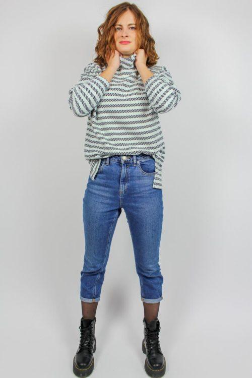 Sweatshirt weiß blau