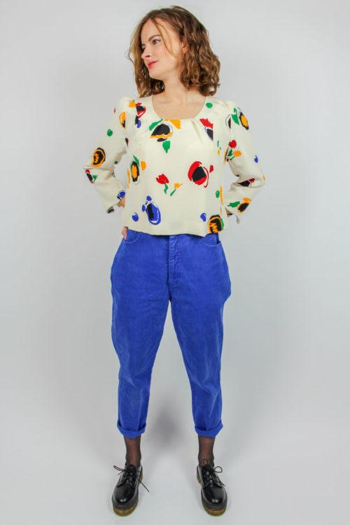 Vintage Bluse creme buntes Muste