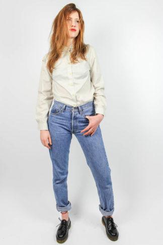 Vintage Bluse creme gestreift