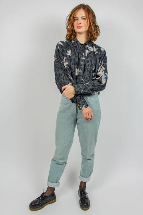Vintage Bluse schwarz grau