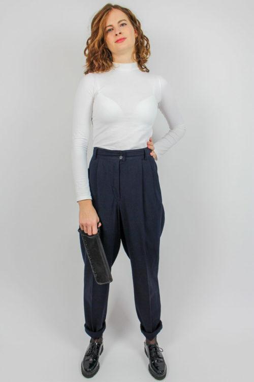Vintage Bundfaltenhose blau