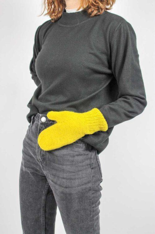 Vintage Fäustlinge gelb handgestrickt
