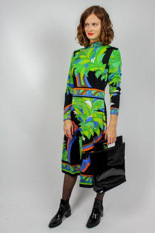 Vintage Kleid grün schwarz