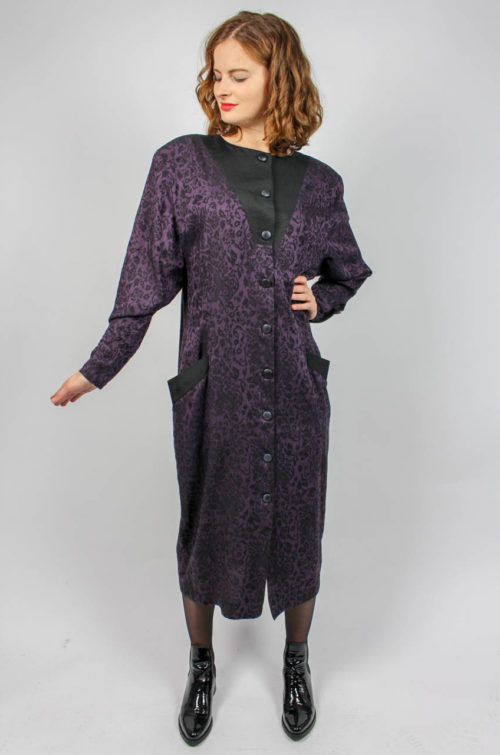 Vintage Kleid lila schwarz