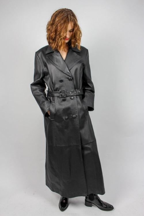 Vintage Ledermantel schwarz