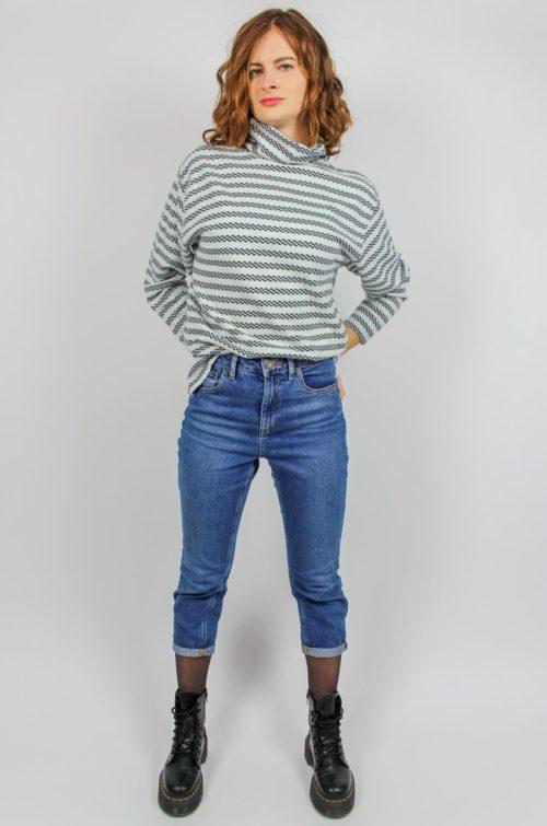 Vintage Pullover weiß türkis