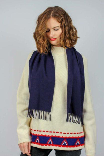 Vintage Schal dunkelbllau