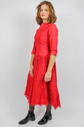 Vintage Spitzenkleid rot