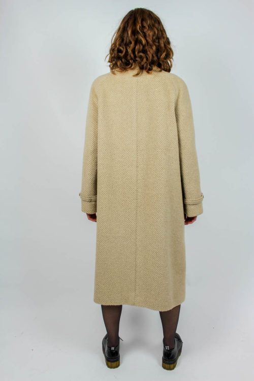Mantel beige Lederkordel