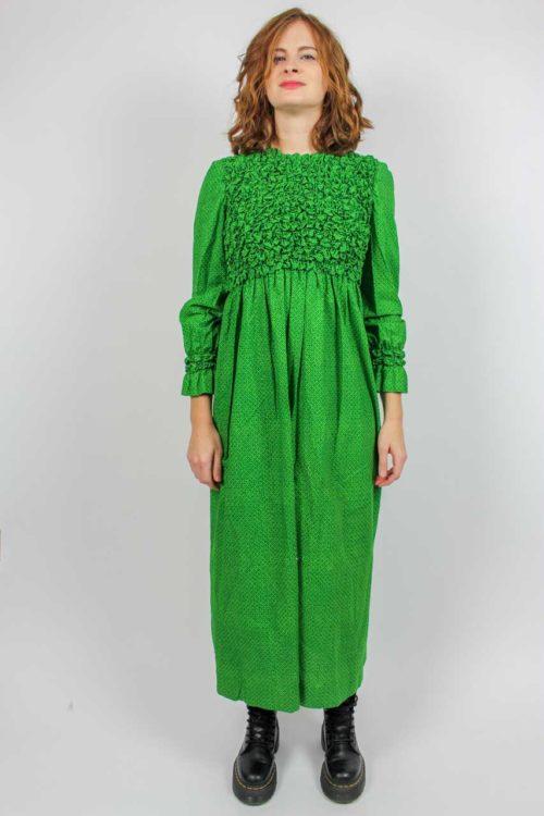grünes Kleid lang Marimekko 70er