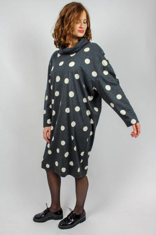 graues Kleid mit Dots