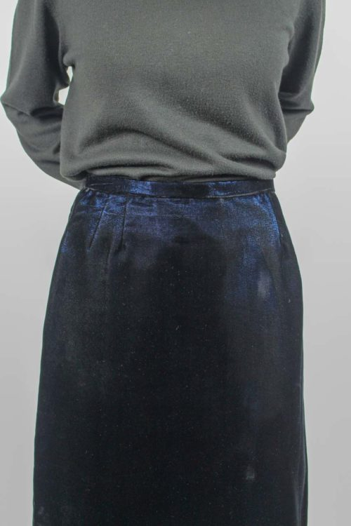 schwarz blauer Midirock