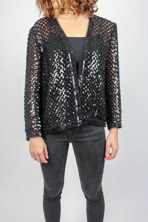 schwarze Jacke mit Pailletten