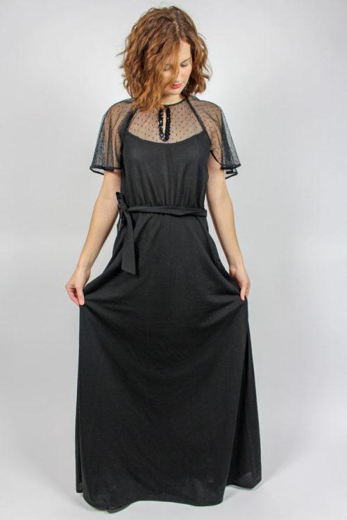Abendkleid schwarz transparend