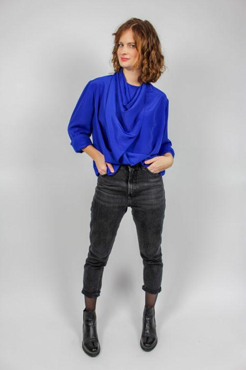 Bluse langarm blau