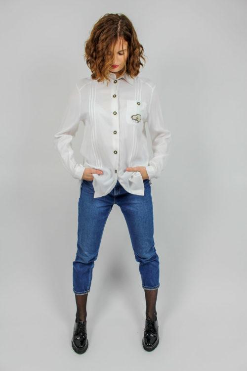 Bluse weiß langarm