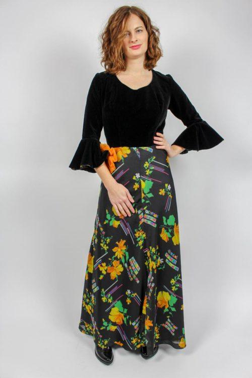Kleid schwarz Blumen Secondhand
