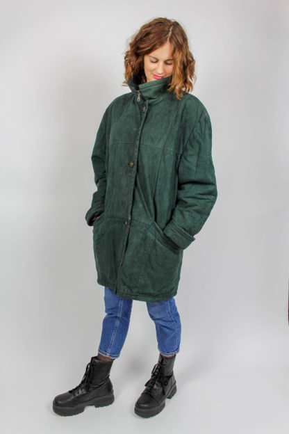 Mantel grün hoher Kragen