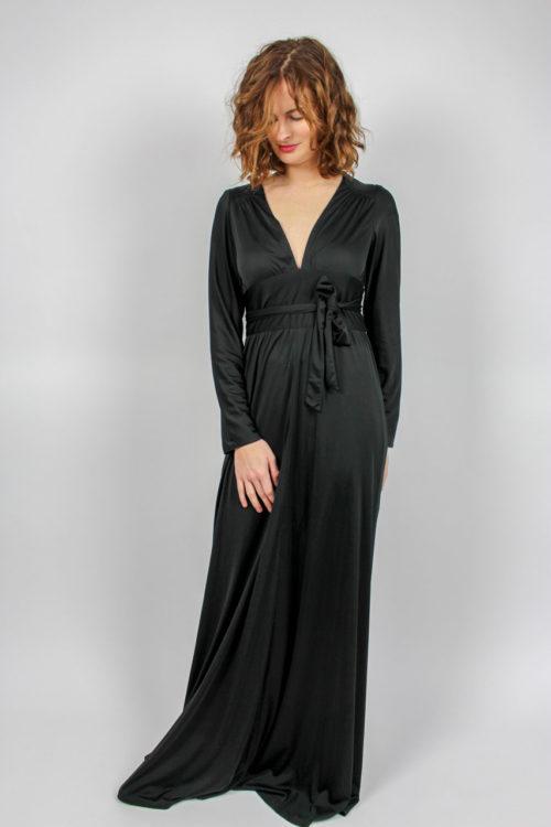 Vintage Abenkleid schwarz lang