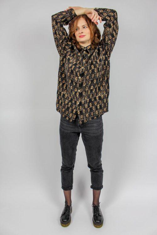 Vintage Bluse braun schwarz