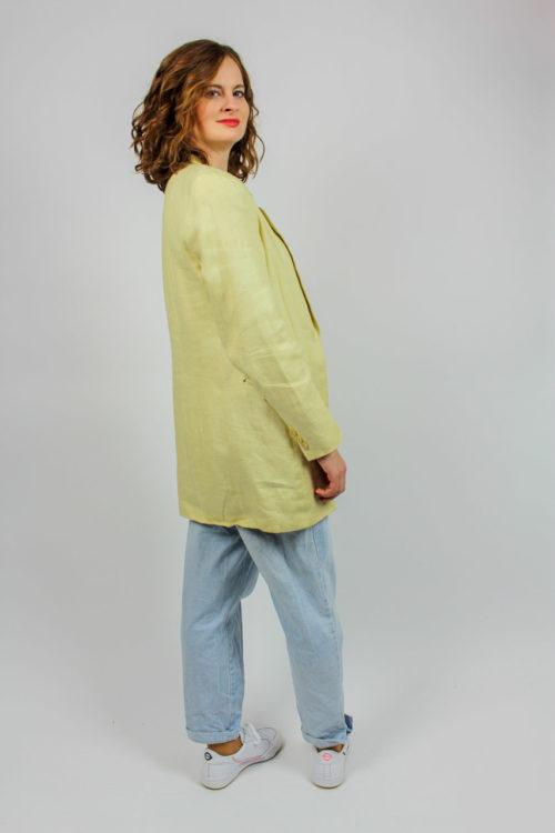 Blazer gelb Leinen 80er Jahre